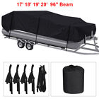 11-24ft Waterproof Heavy Duty Oxford Boat Cover Pontoon Trailerable V-hull Black