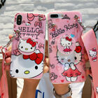Girls Cute Hello Kitty Case Cover for iPhone XS Max XR 6S 7 8 Plus Airbag Strap
