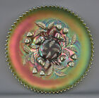 Northwood STRAWBERRY Green Carnival Glass Plate with Basketweave Exterior 4413