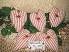Set of 5 handmade red ticking fabric hearts bowl fillers Country Home Decor