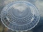 Vintage Federal Clear Sunflower and Bubble 3 Footed Cake Plate