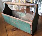 Antique PRIMITIVE Wooden TOOL BOX Tote Tray Original Chippy Green Paint Carrier
