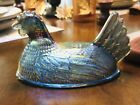 INDIANA GLASS CHICKEN HEN BLUE CARNIVAL GLASS LID NO NEST~ IRIDESCENT ~ PART