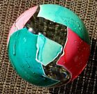 GES Glass Eye Studio 2001 BALL PAPERWEIGHT with PINK & GREEN