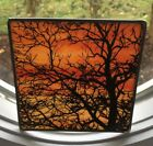Vintage Suncatcher Art Glass Stained Glass Fall Tree Design On Glass 6 x 6