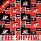 University Of Georgia Bulldogs Ncaa Cotton Fabric - Ga-020 - Free Shipping