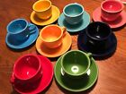 Lot Of 8 Fiestaware Cups & Saucers. Flamingo,shamrock,cobalt,marigold,scarlet
