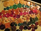 Vtg Buttons Bakelite Celluloid Casein Galalith red green chunky yellow lot 125+