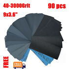90 Pcs Sandpaper 80-3000 Grit Wet Dry Assorted Wood 9x3.6 Abrasive Paper Sheet