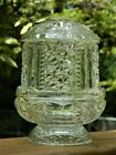 VINTAGE GLASS FAIRY LAMP CANDLE TEA LIGHT STARS AND BARS INDIANA GLASS