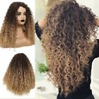 Thick Women Curly Long Wig Brown Blonde Ombre Mixed Highlights Layers Afro US
