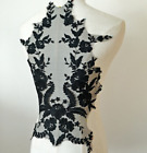1pc Back Embroidered Lace Trim Applique Bodice Diy Sew On Wedding Dress Motif