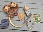 Lot of 19th Century beaded moccasins, horseshoe, quirt,  bags, restoration lot