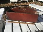 Primitive Old Red Paint Dovetailed Cutlery Tray / Cut Out Heart Handle