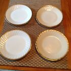 Anchor Hocking - Fire King White Swirls w/Gold Trim Lot of 4 Dinner Plates