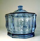 Vintage Art Glass Candy Jar with Lid Ocean Blue