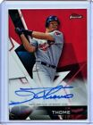 JIM THOME 2018 TOPPS FINEST ON CARD AUTOGRAPH RED REFRACTOR AUTO SP 5 5 INDIANS
