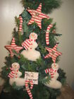 3 Prim Snowmen 3 Stars 3 Candy Canes Country Christmas Wreath making Home Decor
