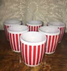 6 Vintage HAZEL ATLAS RED CANDY STRIPE COFFEE MUGS ATTIC FIND EXCELLENT COND!