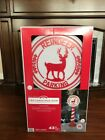 NIB 2018 LED Christmas Blow Mold Reindeer Parking Sign 43in