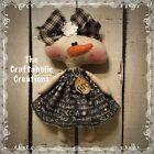 * CUSTOM primitive raggedy doll SNOWMAN flurry tag GIRL snowflake black tan snow