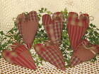 6 Primitive quilted fabric handmade hearts ornies bowl fillers Home Decor