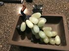 Vintage Glass Jade Green Grapes w/ leaves and a Yamayo ceramic dish from Japan