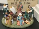 Large Hand Painted Porcelain Nativity Advent Wreath Christmas by Long Rich