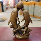 10.5' China Pure Bronze Figurine Lucky Two Dolphin Play Ball Art Dec