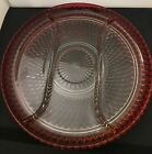 Ruby Flashed Diamond Point Indiana Glass Vintage Large Relish/Divided Dish