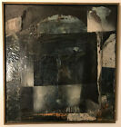Black blue MCM Brutalist Surano OIL PAINTING ABSTRACT 34 X 44 Museum framed