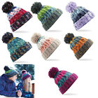 CORKSCREW POM POM BEANIE, LUXURIOUS LINING UNISEX BOBBLE HAT