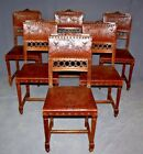 Tooled Leather Chairs, Set of Six