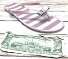 COACH Landon Women's 8B Flip Flop Sandals Pink/White Stripe Thongs Bow Logo Sun
