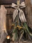 Primitive Fall Dried Sunflowers Corn Wreath Door Keep Early Look Cabin #6