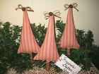 Set of 3 Prim Country Christmas Tree ornaments Bowl Fillers Home Decor