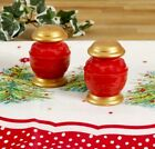 Pioneer Woman Christmas Balls Salt and Pepper Shakers RED GOLD