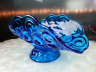 LE Smith Moon and Star Club Aqua Blue Banana Boat Fruit Dish Mid Century 1960's
