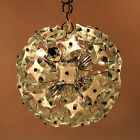 Vintage Chandelier Hanging Light Lamp Thick Sanded Glass Fontana Arte Italy 70s