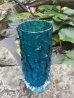 Whitefriars Glass Bark Vase 9689 By Geoffrey Baxter Kingfisher Blue 1970s