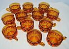 12 Vintage King's Crown Thumbprint Amber Punch Coffee Tea Cups 6oz Indiana Glass