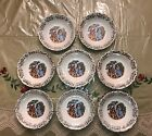 Homer Laughlin Virginia Rose Georgian Gold Rim & Design Desert Bowls Set of 8