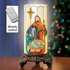 Christmas Religious Nativity Scene Candle Lamp w Remote 8 1 2H