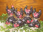 4 Floral fabric Cats Bowl Fillers Wreath making Handmade Valentine Country Decor