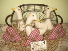 Prim Country Homespun burgundy fabric hearts and Geese bowl fillers Home Decor
