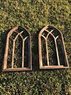 Wooden Antique Style Church Window Frame Primitive Wood Gothic Chocolate