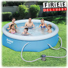 Inflatable Swimming Pool 10x30 w Filter Family Fun Backyard Round Above Ground