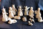 Unusual Artist Made Vtg 14 Pc Mexican Terracotta Pottery Nativity Manger 8 1 2