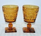 2 Vtg Indiana Glass Amber Colony Park Lane 7 oz amber water wine goblet pedestal