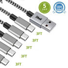 5x Micro USB Cable Android ChargerNylon Braided Quick Charger Cable for Samsung